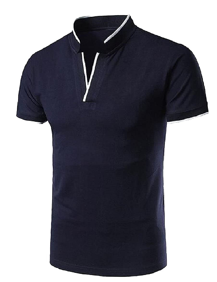 b7bcef13 Ruhua Men Mandarin Collar Slim Short Sleeve Solid-Colored Polo Tops T-Shirts  at Amazon Men's Clothing store: