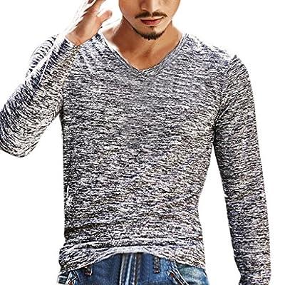 Creazrise Men's Shirts,Mens Fashion Solid Color Slim Blouse V-Neck Long Sleeve T Shirt Top