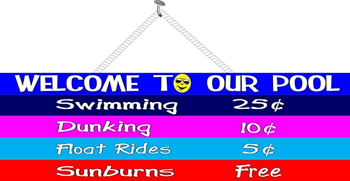 Amazon.com: Swimming Pool Price List Funny Sign in Bright ...
