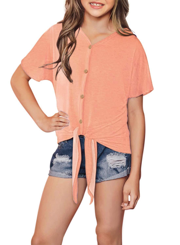 49e4d49b4cf19b GOSOPIN Girls Casual Long Sleeve Knot Front T-Shirts Loose Tunic Tops 4-13Y