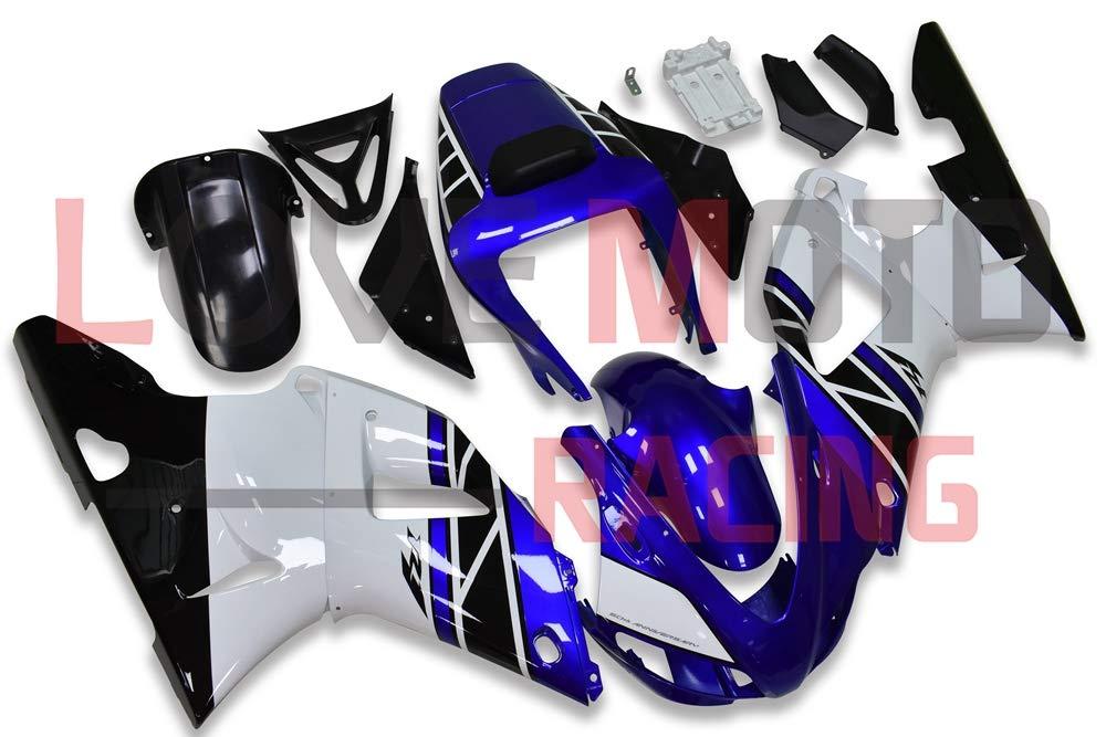 LoveMoto ブルー/イエローフェアリング ヤマハ yamaha YZF-1000 R1 1998 1999 98 99 YZF 1000 ABS射出成型プラスチックオートバイフェアリングセットのキット ブルー ホワイト   B07KP6MYSJ