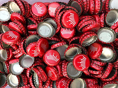 100 ((Budweiser Red Crown) Bottle Caps. NO DENTS. Great for Crafts, Table Tops, and Decor