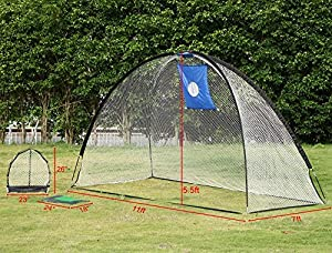 Yaheetech 3 In 1 Portable Golf Practice Set Driving Net w/Carry Bag Artificial Grass Free 4 Nails for Training Golf Soccer Baseball Indoor and Outdoor