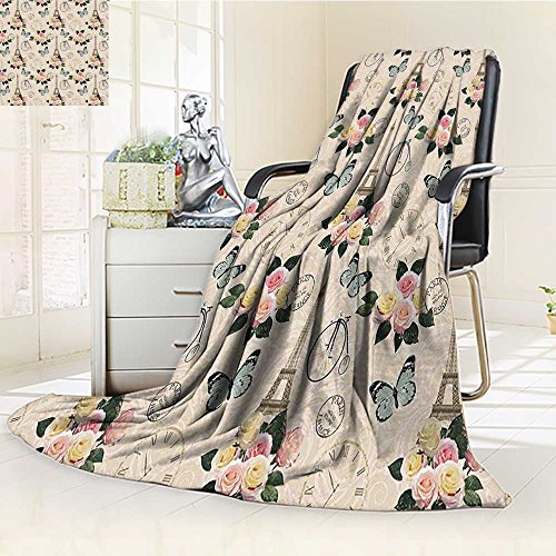 Supersoft Fleece Throw Duplex printed blanket Modern French Eiffel Tower Shabby Chic Garden Roses Butterfly Flowers Leaves Artwork Multicolor Anti-Static,2 Ply Thick,Hypoallergenic/W31.5