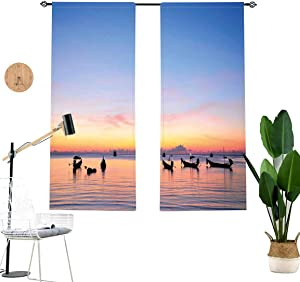 Fishing Blackout Curtains,Sunset on Sea with Silhouette Ships at Suratthani Asian Bay Relaxation Living Room Bedroom Window Drapes 2 Panel Set,W29 x L63 Each Panel