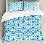 Arabian Duvet Cover Set by Ambesonne, Old Historical Oriental Ancient Ottoman Artwork with Pattern of Stars Geometric Art, 3 Piece Bedding Set with Pillow Shams, King Size, Blue White