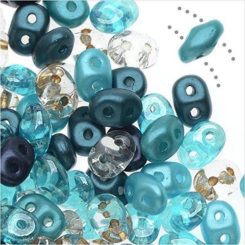 SuperDuo, Czech Glass 2-Hole Seed Beads 5.5x3mm, 24 Gram Tube, Caribbean Seas