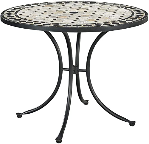 Home Styles Laguna Black Outdoor Marble Patio Dining Table with Umbrella Hole, Octagon Marble Tile Top, Nylon Glides, and Adjustable Nylon Glides