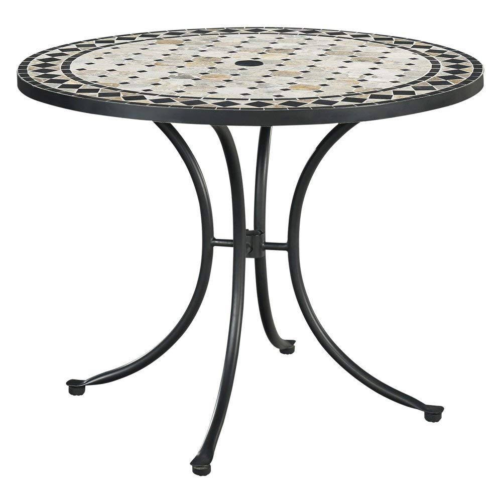 Home Styles 5605-30 Laguna Outdoor Marble Patio Dining Table with Round Top, 39'' Black