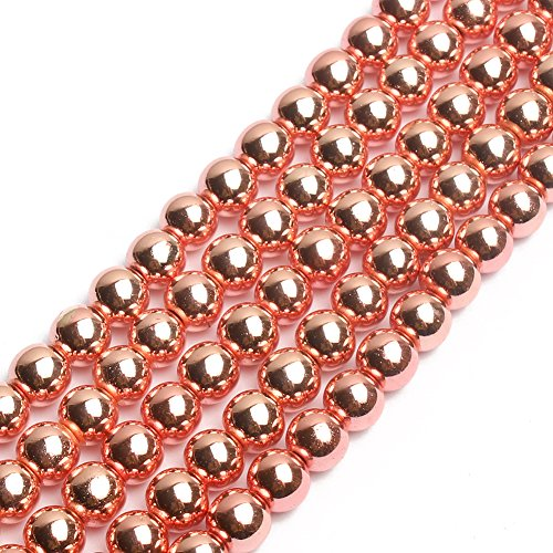 (Natural Smooth Metallic Hematite Round Gemstone Loose Beads Rose Gold Hematite Beads 15 inch 8mm)