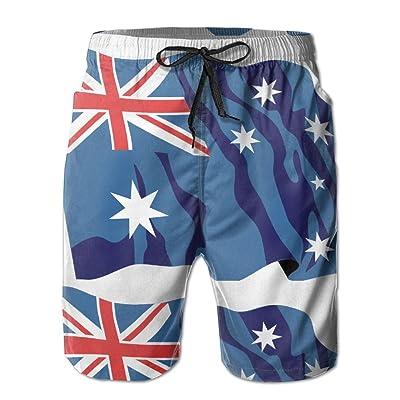 Nasat Australia Flag Waving Mens Shorts Loose Summer Swimming Trunks Running Swimming and Surfing