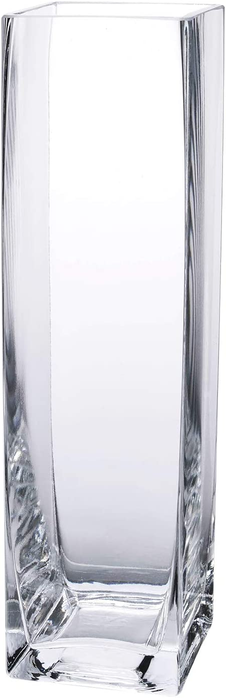 """Diamond Star Tall Square Vase Home Decorative Flower Glass Vase Wedding Party Table Centerpieces(3""""×3""""×12"""")"""