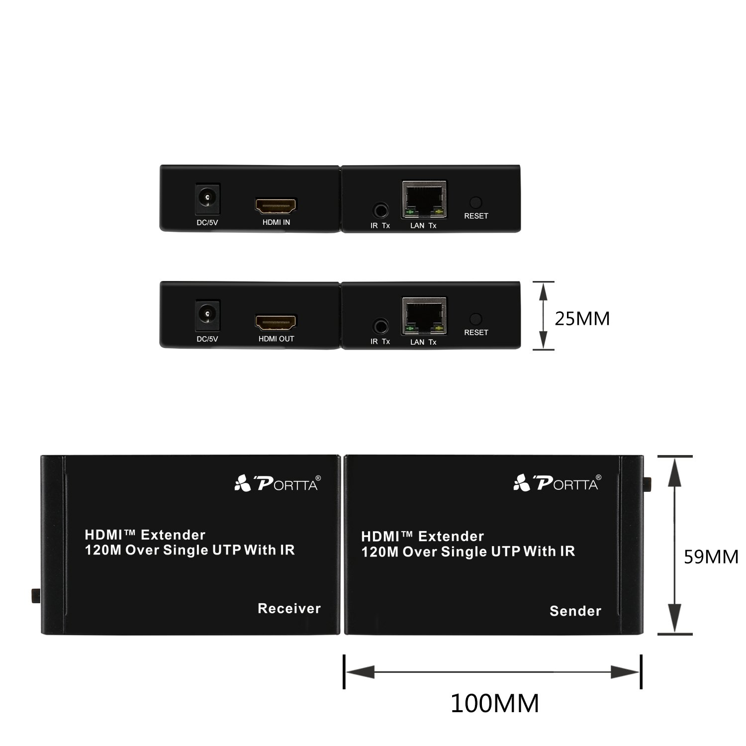 Portta Hdmi Extender By Cat5e Cat6 Cable 60m Home Audio Over Wiring Diagram Theater