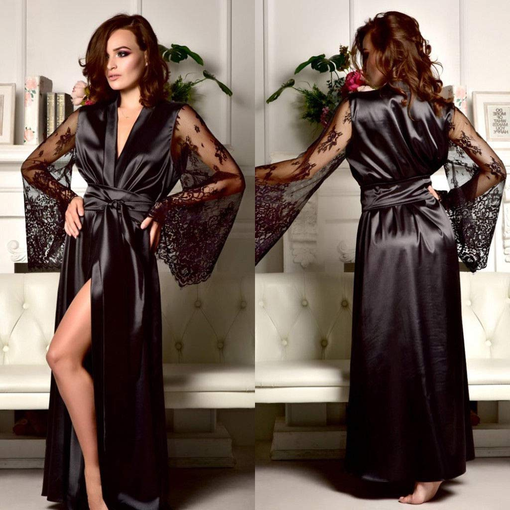 Carolilly Damen Satin Nachtkleid Kimono Robe Nachtw/äsche Sleepwear mit Spitzen