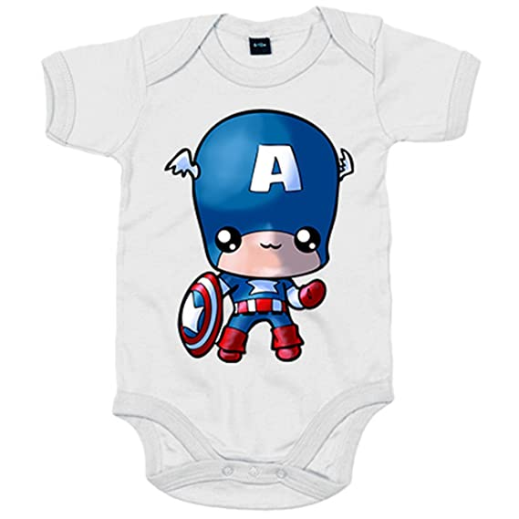 Body bebé Capitán America Kawaii - Azul Royal, 6-12 meses: Amazon.es: Bebé