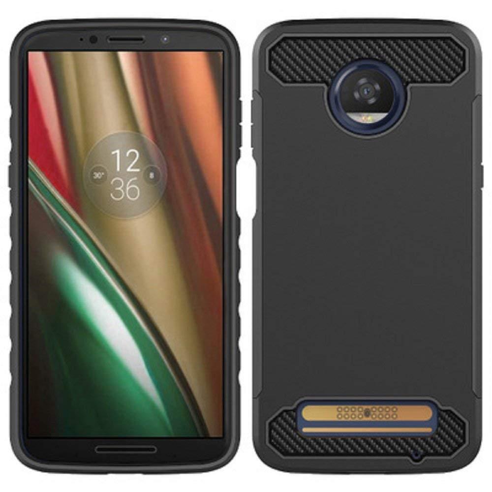 Moto Z3 Play Case, Carbon Fiber Slim Trim Duarable Cases Air Cushion Tecnology TPU Impact Silicone Protective for Moto Z3 Play (Black)