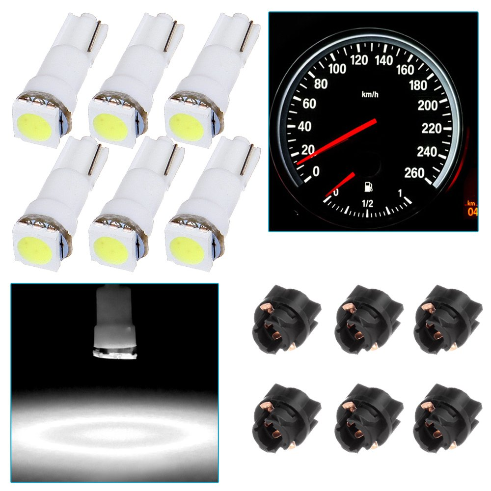 cciyu 6x Car T5 5050 1SMD Wedge Xenon White LED Light Bulbs Instrument Panel Cluster Plug Lamp Dash Light Bulb w/T5 Twist Sockets(white)