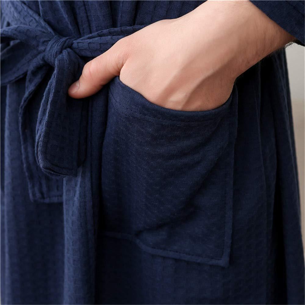 dunkelblau Polyester JYCRA Unisex Bademantel XL d/ünn Waffle Bademantel Bademantel Nachtw/äsche f/ür M/änner Frauen