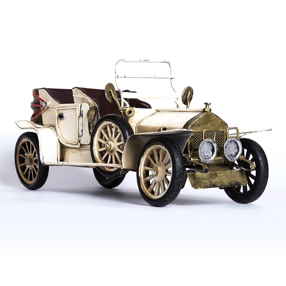 Rolls-Royce Phantom Metal Antique Vintage Car Model Nostalgic Retro Handicraft Vintage Iron Car Models Car Decoration Handmade Classic Vehicle Collection Creative Home Decorations (White) Ayiguri