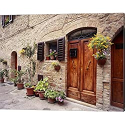 Flowers On The Wall, Tuscany, Italy 06 by Monte Nagler Canvas Art Wall Picture, Gallery Wrap, 20 x 16 inches