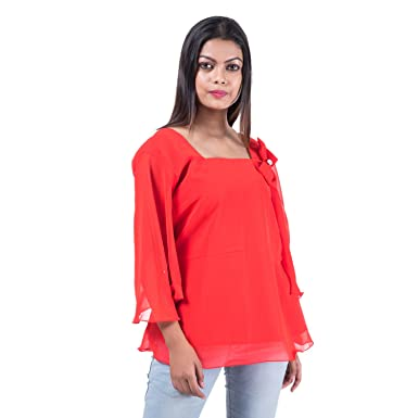 60d95bc4bf5 Mamosa tops for girls new fashion western girls tops stylish Georgette Red 3  4th Sleeve girls tops stylish top tops short kurti forGirls Ladies Latest  ...