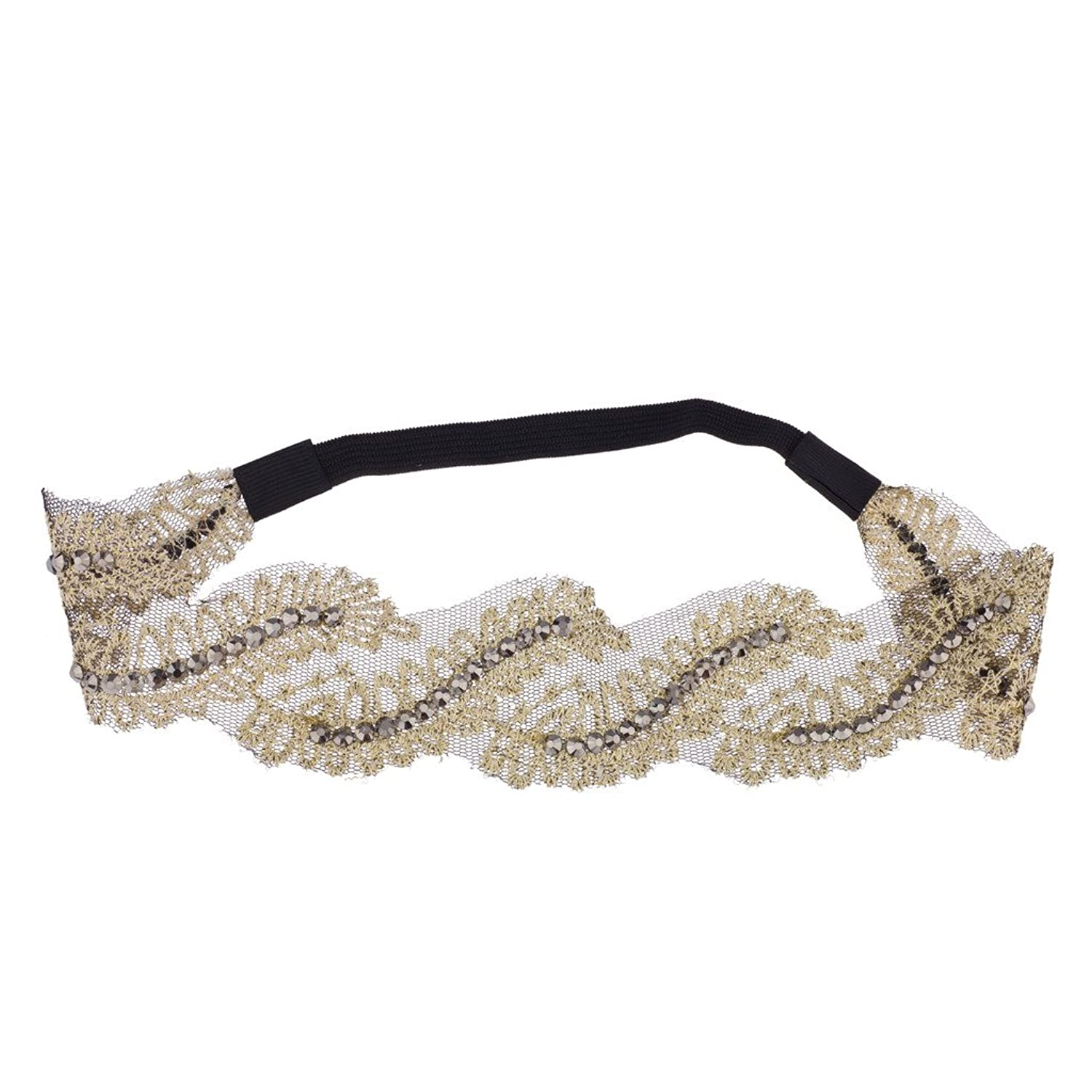 Lux Accessories Fabric Studded Leaf Floral Stretch Headband Head Band
