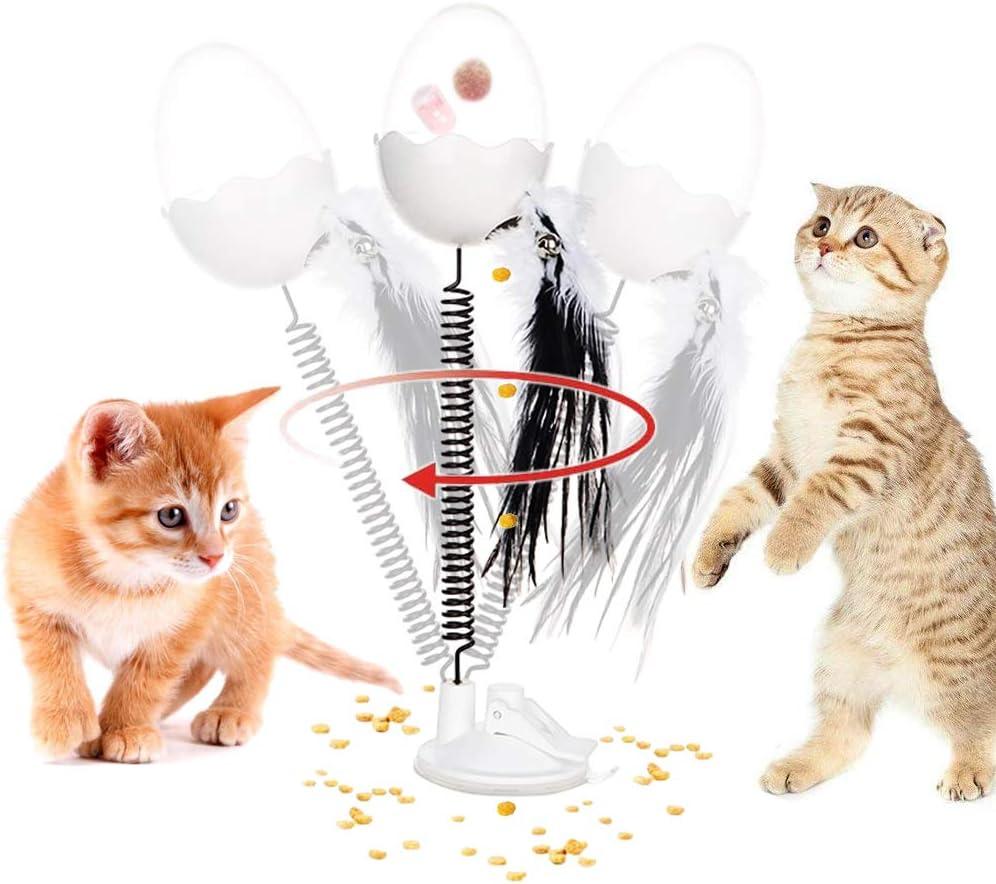 CHOKMAX Juguete de Plumas de Gato, 2020, dispensador Interactivo de Alimentos, Vaso con luz LED, Smart IQ Kitty Chaser, Juguete Divertido para Gatos de Interior
