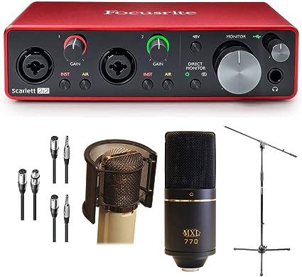 Paquete de interfaz de grabación de audio USB Focusrite Scarlett 2I2 – MXL 770 micrófono, viento protector de, soporte para micrófono, cables: Amazon.es: Instrumentos musicales