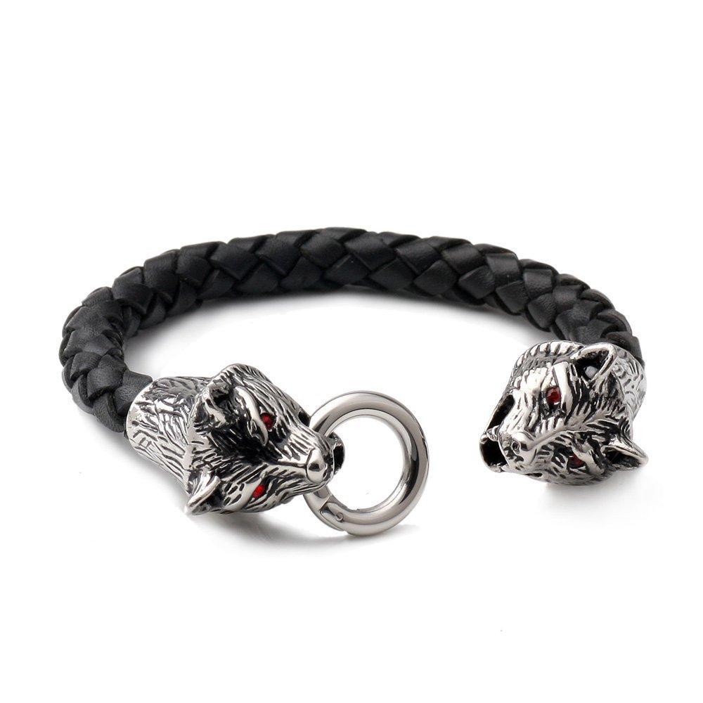 F023 pour les femmes les filles des hommes findout loup 20cm V/éritable Bracelet en acier de titane Hommes en cuir