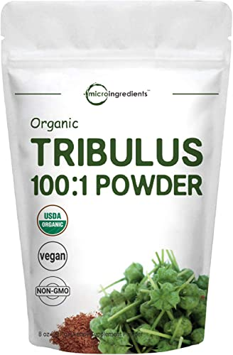 Organic Tribulus Terrestris Extract 100 1 Powder, 8 Ounce 227 Grams , for Healthy Libido and Testosterone Levels, Boosts Immune System and Energy, No GMOs, Vegan Friendly