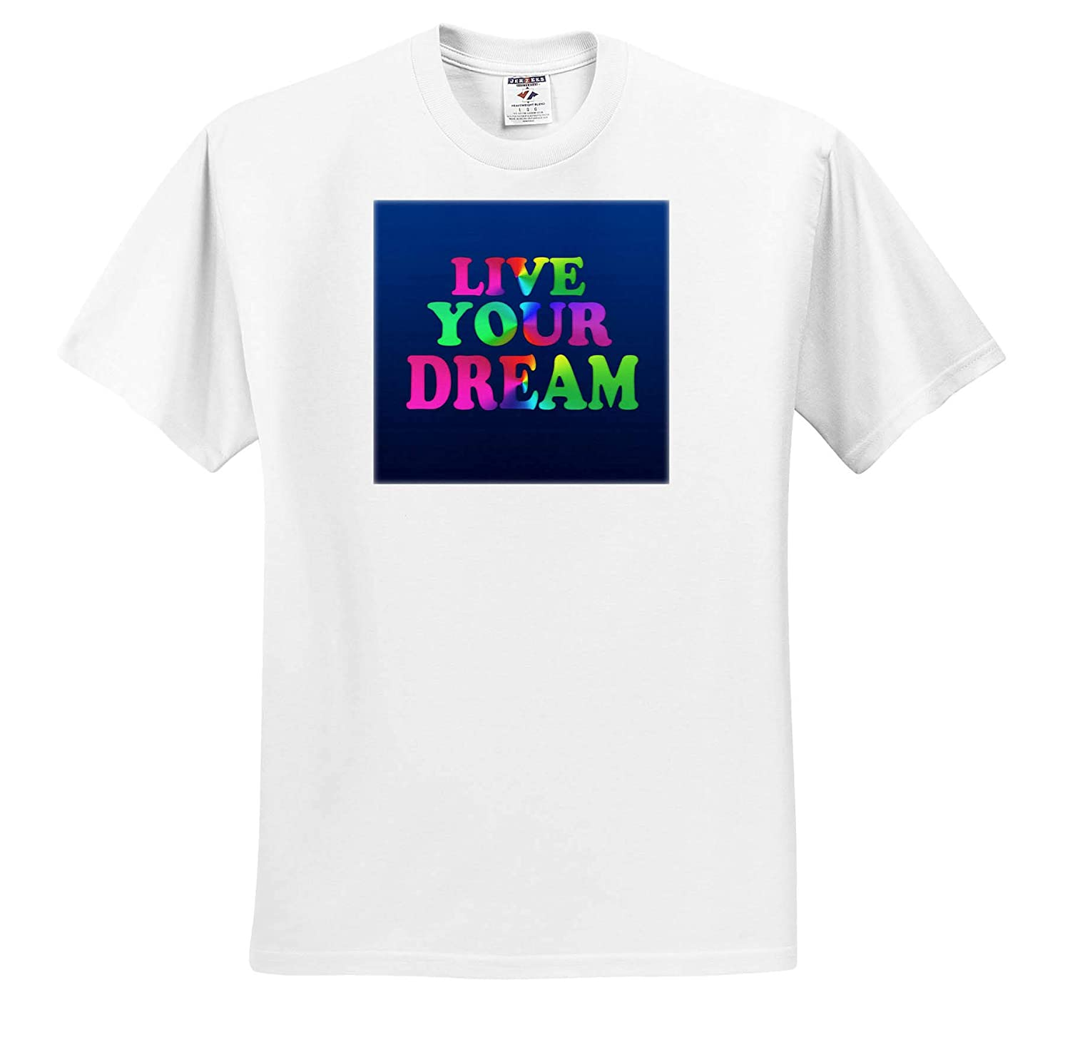 Inspirational Quote 3drsmm T-Shirts Typography 3dRose AMansMall Inspirational Typography Live Your Dream