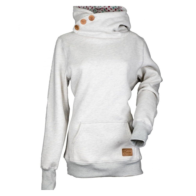 Hoodies Femmes Grande Taille Sweats Capuche Manches Longues Chemises Col  Montant Chemisiers Capuche Chauds T- 7034bae5723