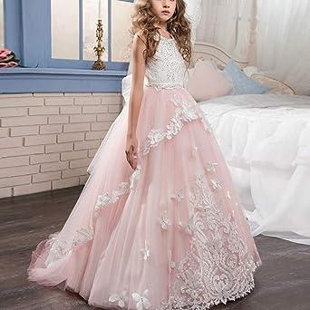 Appliques de encaje vestido de niña de flores para la boda Princesa Vestidos de Dama De Honor Fiesta Tul Bowknot Comunión Cumpleaños Bola Pageant Paseo ...