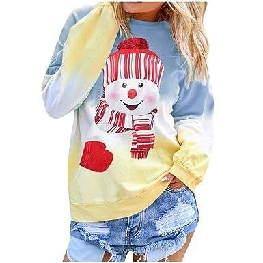 ღ YGbuy Camiseta De Manga Larga De Gradiente para Mujer, Camiseta ...