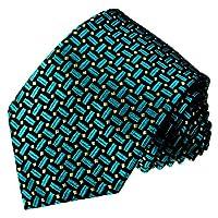 LORENZO CANA - Italian 100% Silk Tie Woven Handmade Necktie Turquoise Black - 12048