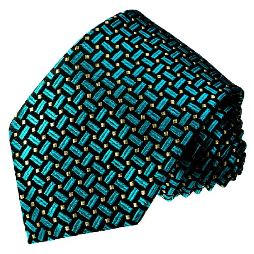 - LORENZO CANA - Italian 100% Silk Tie Woven Handmade Necktie Turquoise Black - 12048