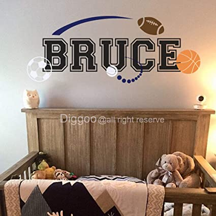 Personalized Sport Wall Decals Boys Name Wall Decal Basketball Football  Soccer Baseball Wall Decor Boys Room Kids Room Decor (8.5\