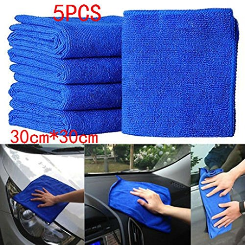 Rucan 5Pcs Blue Soft Absorbent Wash Cloth Car Auto Care Microfiber Cleaning Towels by Rucan (Image #1)