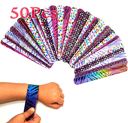 Animal Print Slap Bracelets (lieomo 50Pcs Hearts/animal Print Slap Bracelets Toy, Kids' Party Supplies)
