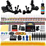Solong Tattoo® Complete Tattoo Kit 2 Pro Rotary Tattoo Machine Guns 54 Inks Power Supply Foot Pedal Needles Grips Tips TK255
