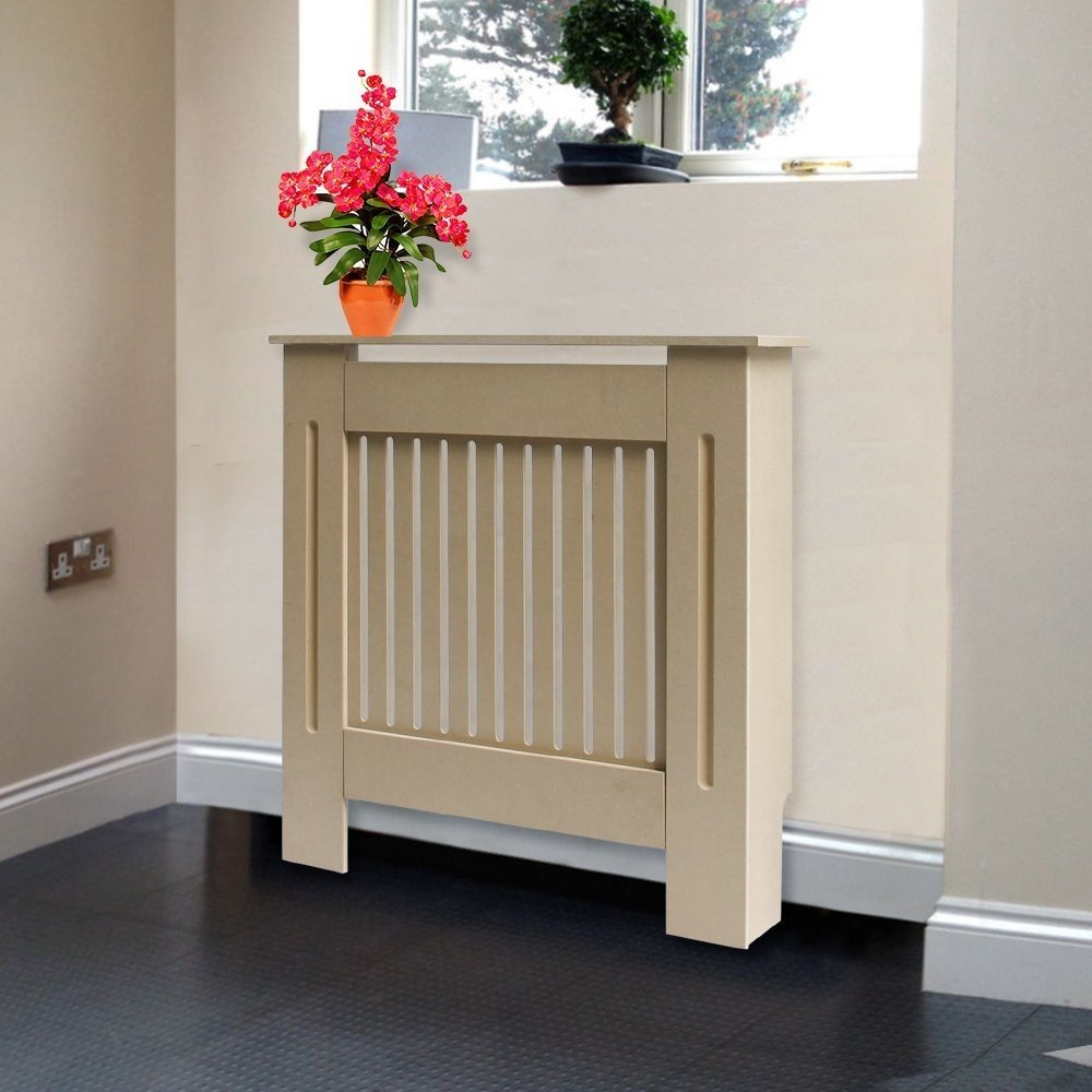 Greenbay Modern Radiator Cover Unfinished MDF Cabinet with Modern Vertical Style Slats Unpainted Natural Medium - 1115 x 815 x 190(mm) Manufactured for Greenbay