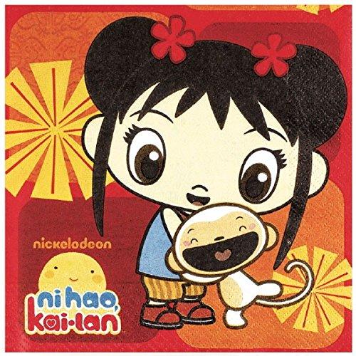Amscan Playful Ni Hao Kai Lan Birthday Party Luncheon Napkin (16 Piece), Red, 6 1/2 x 6 1/2