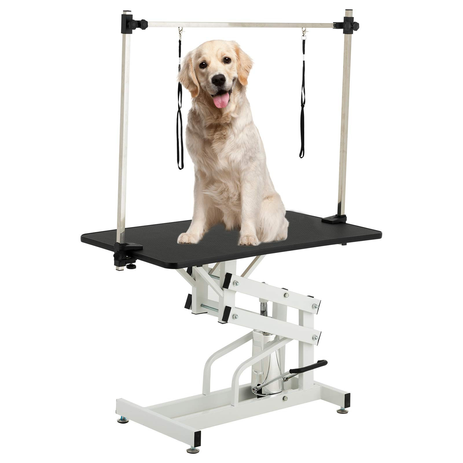 SUNCOO 43 Inch Hydraulic Pet Dog Grooming Table Upgraded Professional Drying Table Heavy Duty Stainless Steel Frame with Adjustable Arm and Noose 400lbs Capacity Height Range 22-39 Inch by SUNCOO
