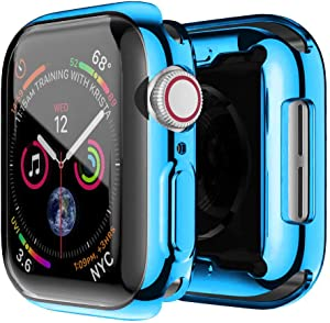 IWatch Series 4/5 Case 40mm 44mm, All Around Protective Case for Apple Watch,Ultra Thin Clear iWatch Series 4/5 Screen Protector with TPU Screen Protector(Blue, 44mm)