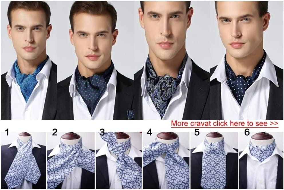 ZorYer Cravat Check Polka Dot Stripe Silk Ascot Cravat Casual Jacquard Woven Party Ascot S926