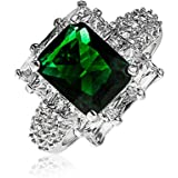 Bling Jewelry Green CZ Engagement Ring Rhodium Plated