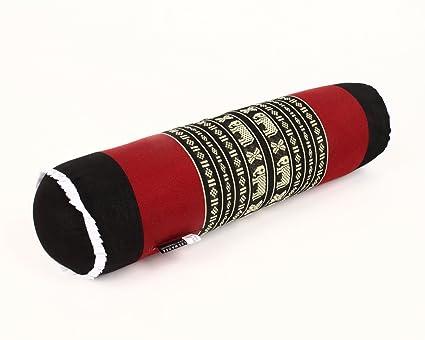 Leewadee Cojín para Yoga, 55x15x15 cm, Capok, Negro Rojo
