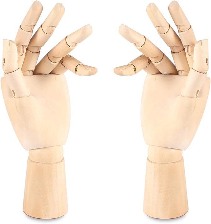 L+R, 24,1 cm bewegliche Finger f/ür Skizzieren Handabschnitt 24,1 cm gegenl/äufig Malen MYCreator Handmodell aus Holz Zeichnen