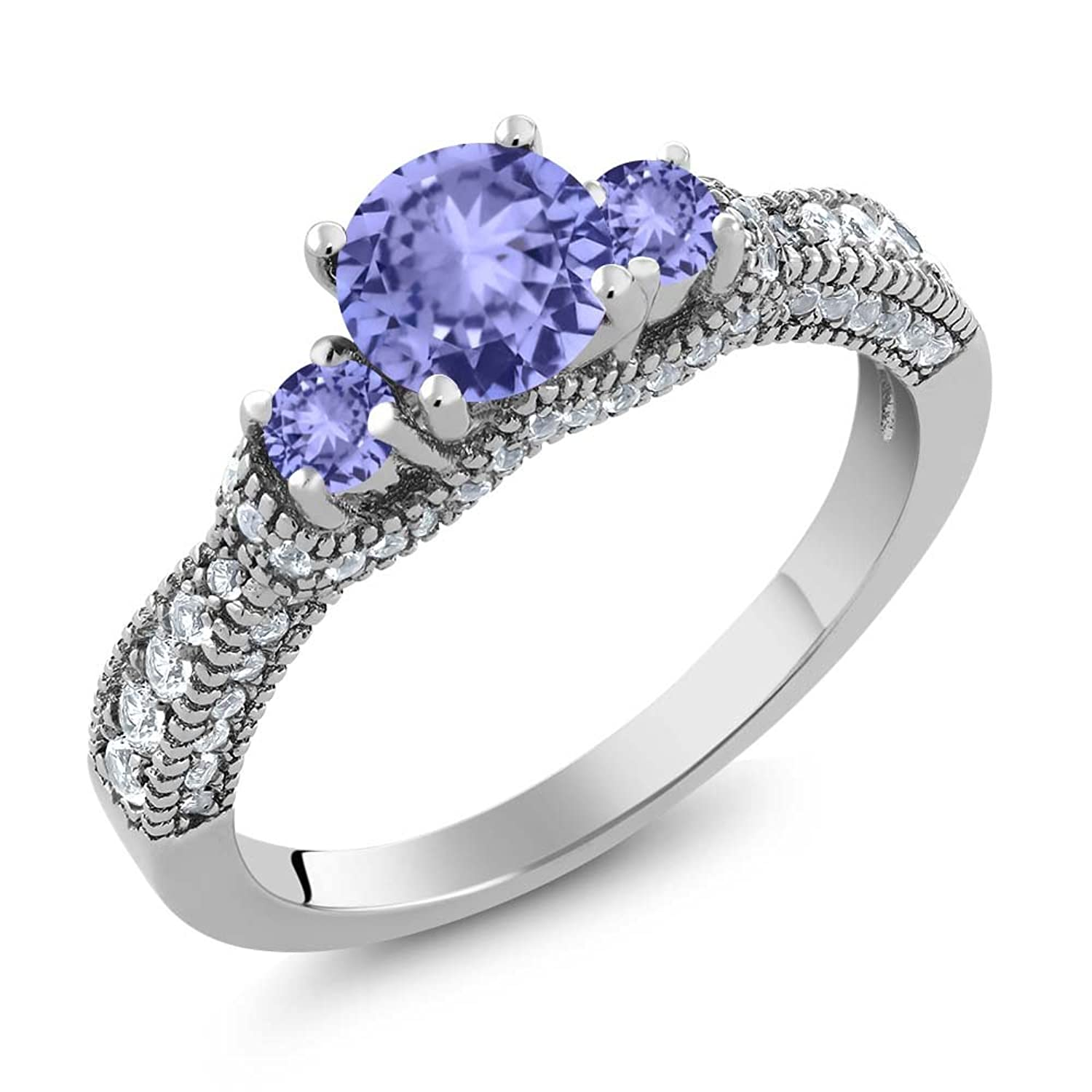 2.13 Ct Round Blue Tanzanite 925 Sterling Silver Ring