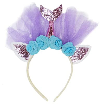 Maticr Glitter Birthday Girl Mermaid Headband Mermaid Tail Tulle Head Band Under The Sea Party Headwear (Pink & Floral): Clothing